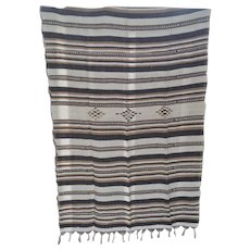 Another Vintage Hand or Loom Woven Wool Rug or Throw Turkish or Moroccan
