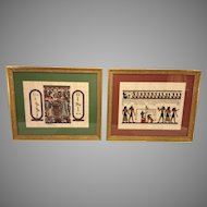 Vintage Pair of Egyptian Artwork on Parchment Professionally Framed and Matted