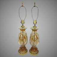 Vintage Pair of Bohemian Amber Cut Glass Lamps