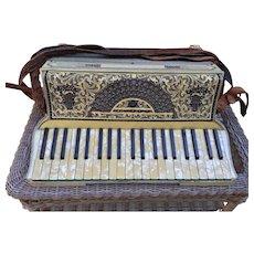 Antique Moreschi & Sons Piano Key Accordion Italiian in Case w/ Two Music Books