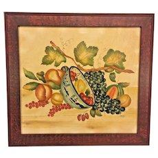 Vintage DeVerter Theorem of Vine & Bowl of Fruit 1986 Faux Grained Frame