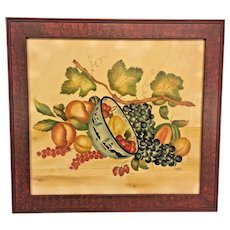 Vintage DeVerter Theorem of Vine & Bowl of Fruit 1986 Faux Grained Frame