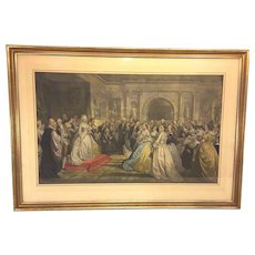 Antique Hand Colored Engraving of Reception of Lady Washington after Daniel Huntington Painting  Engraved by Alexander Hay Ritchie