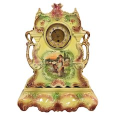 Antique 2 Piece China Case Clock Case & Base Time Only American Movement Runs Dolphin Motif w/ Hand Painted Harvest Scene  Marked Paris, England & US