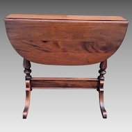 Vintage Walnut Drop Leaf Occasional Table 1880s Patent Date on Spring Mechanism on Leafs