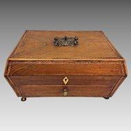 Antique Sarcophagus Dresser Box Inlaid Detailing Brass Feet