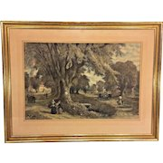 Antique Albert Fitch Bellows Hand Colored Engraving by J Duthie The Village Elms Sunday Morning in New England 1878 Framed & Matted  Item Description