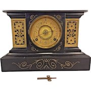 Antique Ansonia Cast Iron Clock Case 2 Gold Gilt Panels Not Running Loose Bezel