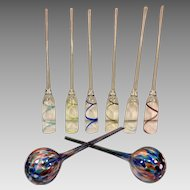 6 Long Stem Champagne Flutes w/ No Bases Made to Stand in Ice Bucket & Two Colored Glass Balls