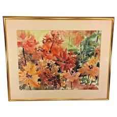 Vintage Barbara Gresham Watercolor Flowers in the Garden Signed Matted & Framed