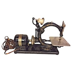 Vintage Willcox and Gibbs Sewing Machine w/ Foot Floor Control & Carrying Case Made in Late 1800s