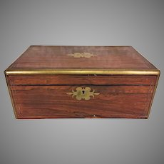 Antique Rosewood and Brass Trimmed Writing Travel Case Secret Compartment Lock w/ Key that Works!