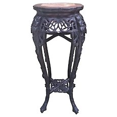 Antique Chinese Carved Rose Wood Fern Stand with Marble Top No Makers Mark