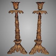 Vintage Pair of Rococo Style Case Gilt Metal Candlesticks