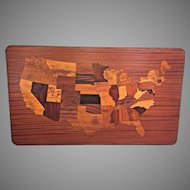 Vintage Map of the United States with Inlaid Parquetry Mahogany and other Woods