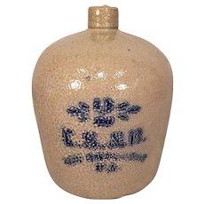 Vintage Salt Glazed CS&B Stoneware Jug with Cobalt Inscription 2 Gallon New Garden Township PA