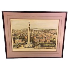 Vtg Reproduction Lithograph View of Baltimore City Framed and Matted E Sachese & Co Baltimore MD