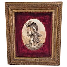 "Vintage Composite Figural Relief of  ""The Storm"" after Pierre Auguste Cot Painting Framed with Suede Border"