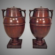 Pair of Antique Mahogany Wood Urns with Lids with Wood Bases Elegantly Detailed and Finely Finished