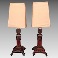 Antique Pair of Wood Boudoir Lamps with Brass Legs and Trim & Fabric Shades