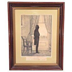 Antique Full Body Silhouette  Lithograph of President John Tyler  10th President of the United States by EB & EC Kellogg in 1844