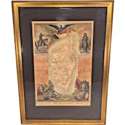 Antique Dept De La Corse French Map of Corsica Atlas National Illustre 1861  Handcolored Map Framed and Matted