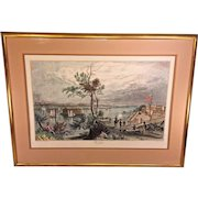 """Antique Lithograph of """"The Narrows"""" from Fort  Hamilton Framed & Matted  W H Bartlett and G K Richardson"""
