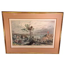 "Antique Lithograph of ""The Narrows"" from Fort  Hamilton Framed & Matted  W H Bartlett and G K Richardson"