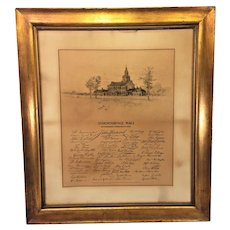 Antique M F Tobin Engraving of Independence Hall 1899 Facsimile Signatures of Signers of Declaration of Independence