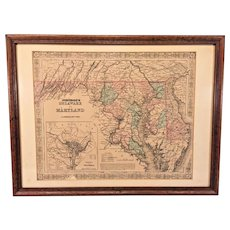 A J Johnson's Map of Delaware & Maryland w/ Inset of District of Columbia 1855 Colored in Frame J H Colton