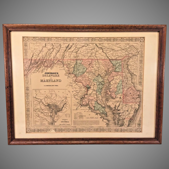 A J Johnson\'s Map of Delaware & Maryland w/ Inset of District of Columbia  1855 Colored in Frame J H Colton