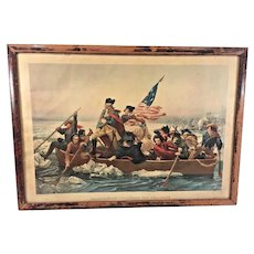 1890s Print of Washington Crossing the Delaware E Leutze Rendering Colored in Old Frame