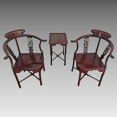 Vintage Pair of Asian Rosewood Corner Chairs and Table Beautiful Condition No Makers Mark