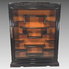 Vintage Chinese Wall Curio Cabinet w/ Glass Hinged Door & Nicely Designed Arranged Shelves