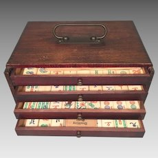 Vintage Mah Jong Set in Wood Case Bone & Bamboo Pieces 5 Drawers Instruction Booklet 144 Tiles