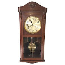 Vintage German Wall Clock (Hamburg American Clock Co) with Bim Bam Strike Leaded Glass in Front Door Running & Striking Mahogany Case