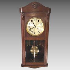 Vintage German Wall Clock (Hamburg American Clock Co) with Bim Bam Strike Leaded Glass in Front Door Running & Striking Mahogany Case