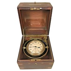 Antique Waltham Chronometer from 1910 in Mahogany Case  Serial # 18074092  Runs! Key for Case Works 15 Jewels Movement Runs! Pre-World War I Era