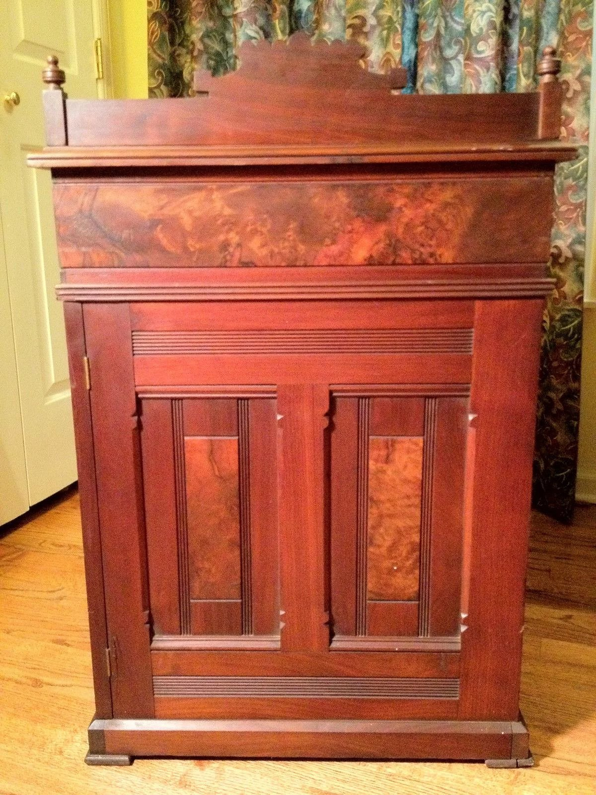 Antique Burled Mahogany Desk Side Drawers Topper And