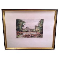 Watercolor Painting of Building and Grounds Nierhaden Kiuhauin Morn