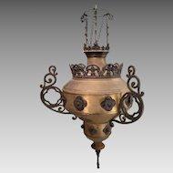 Antique Brass and Cast Chandelier Lamp Light