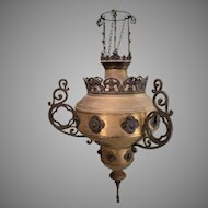 Antique Brass and Cast Chandelier Lamp Light