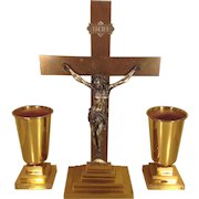 3 Piece Religious Crucifix Set Crucifix and 2 Chalices