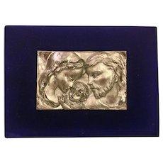 Velvet Framed Religious Plaque of Holy Family Mary Joseph and Jesus Silver Plate or Pewter