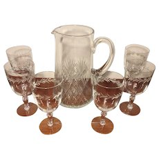 Cut Glass Pitcher and 6 Stem Glasses No Makers Mark
