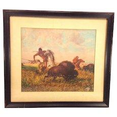 Vintage Indian Buffalo Hunt Print in Frame John Dare Holland Penn Prints 1952