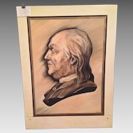 Large Oil on Board Portrait of Benjamin Franklin from Boy Scouts Troop in the 1950s Artist Unknown