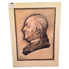 Large Oil on Board Portrait of Benjamin Franklin from Boy Scouts Troop in the 1950s Artist Unknown