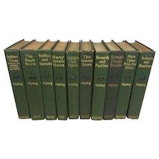Works of Rudyard Kipling 20 Volumes Green Cloth Covers 1901-1919