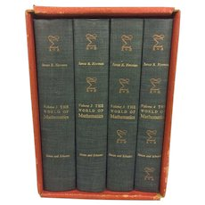 The World of Mathematics 4 Volumes by James Newman 1st Edition 2nd Printing 1956 in Slipcase